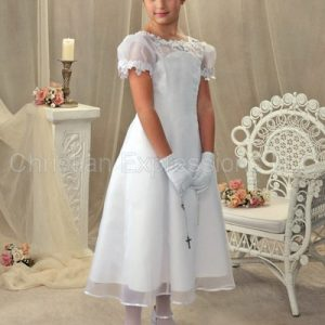 organza and satin first communion dress