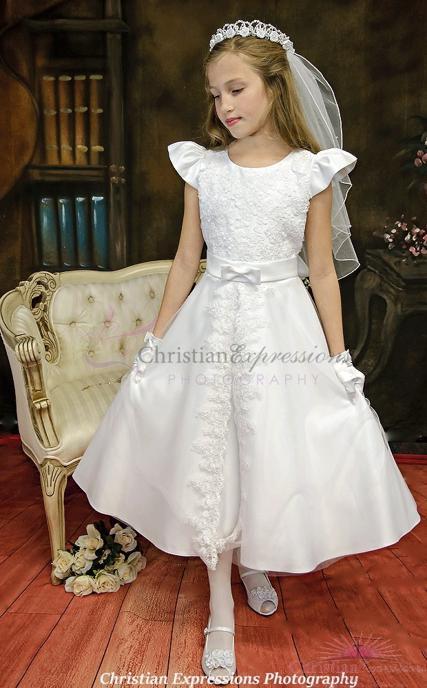 Organza Overlay Split Skirt First Communion Dress Plus Size First