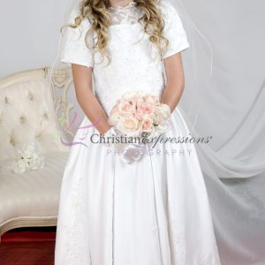 Girls First Holy Communion Dress with Heavy Beading size 8