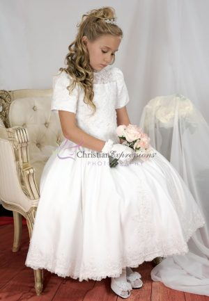 Tea Length Girls First Communion Dress with Heavy Beading size 6
