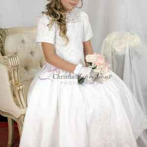 Tea Length Girls First Communion Dress with Heavy Beading