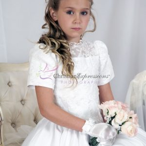 Short Sleeves Satin Girls First Communion Dress with Heavy Beading