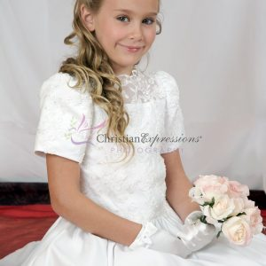 Short Sleeves Satin First Communion Dress with Heavy Beading size 10