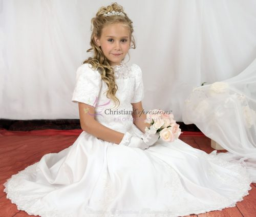 heavily beaded first communion dress
