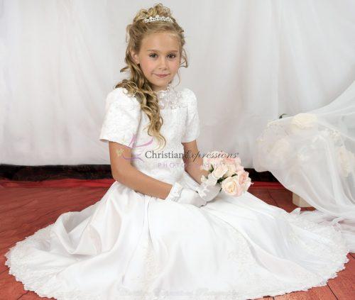 heavily beaded first communion dress