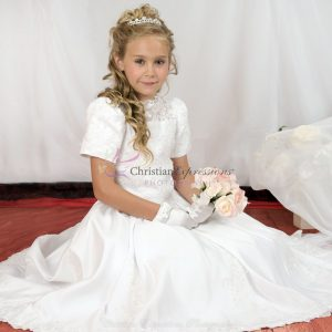 Short Sleeves Satin First Communion Dress with Heavy Beading size 8