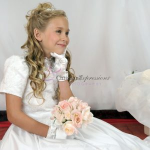 Short Sleeves Satin First Communion Dress with Heavy Beading size 7