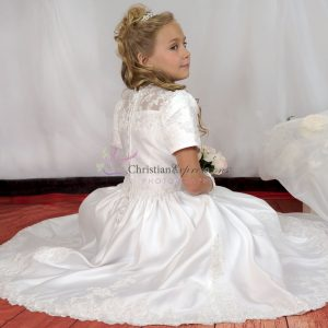 Short Sleeves Satin First Communion Dress with Heavy Beading Size 6
