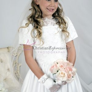 Girls First Holy Communion Dress with Heavy Beading size 7