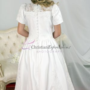 Tea Length Girls First Communion Dress with Heavy Beading size 10