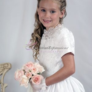 Tea Length Girls First Communion Dress with Heavy Beading size 8