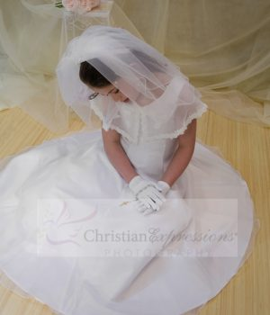 first communion dress with organza scarf