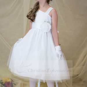 Satin and Tulle Sleeveless First Communion Dress