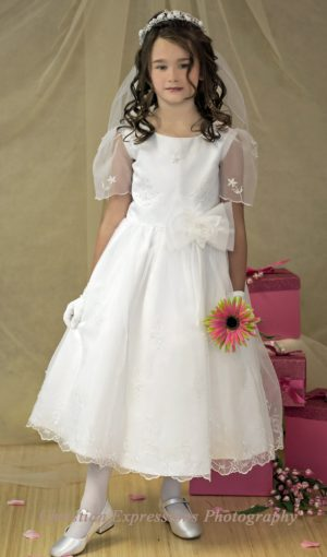 First Communion Dress Embroidered Organza
