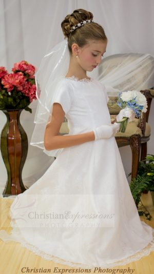 Lace Overlay First Communion Dress
