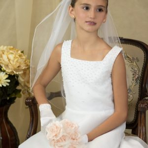 pearl a-line satin first communion dress