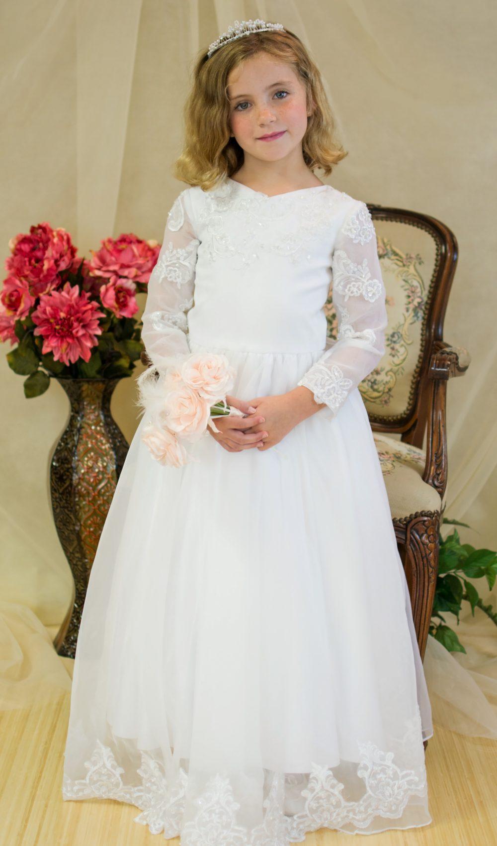 Organza Beaded three Quarter Sleeve First Communion Dress