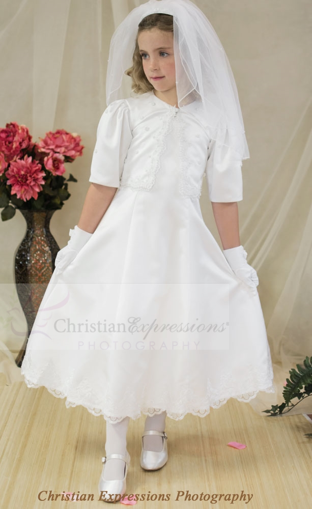 First Communion Dress with Pearl Jacket