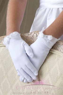 First Communion Gloves Matte Satin Organza Cuff