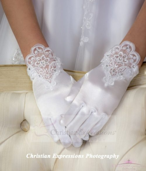Satin and Lace First Communion Gloves