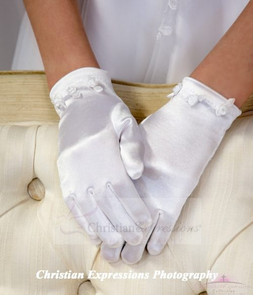 Satin First Communion Gloves with Small Rosebuds