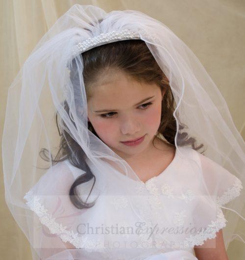 first communion pearl headband veil