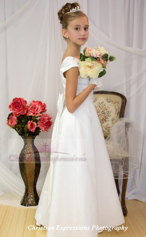first communion satin A-line dress
