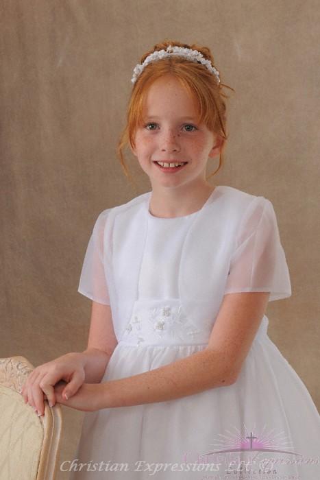 Girls White Satin Organza Short Sleeve First Communion Flower Girl Borelo Shrug Jacket Size 2-16