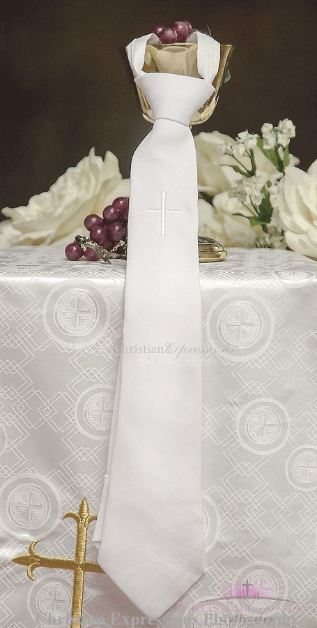 Boys First Communion Tie with Embroidered Cross