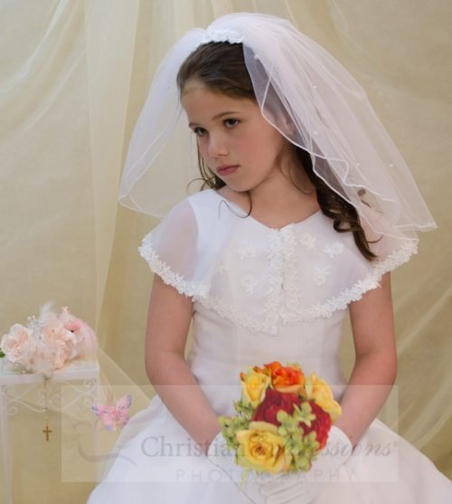White 1st Communion Headband Veil with Fabric Flowers and Pearl Clusters