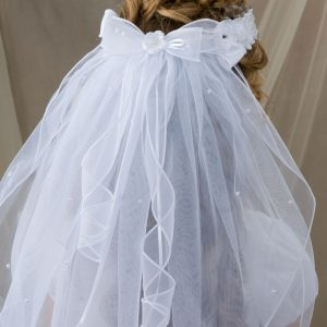 First Communion Crown Veil with Rosettes and Pearls