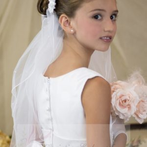 first communion wreath veil with bow