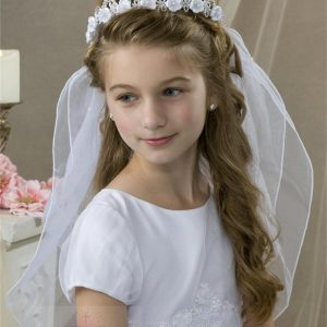 First Communion Crown Veil with Satin Rosettes