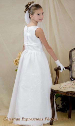 floral embroidered long length fcommunion dress