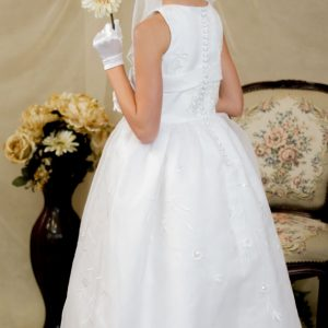 floral embroidered long length first communion dress