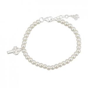 irish celtic cross pearl bracelet