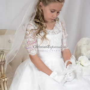 lace bodice first communion dress Gold Accents