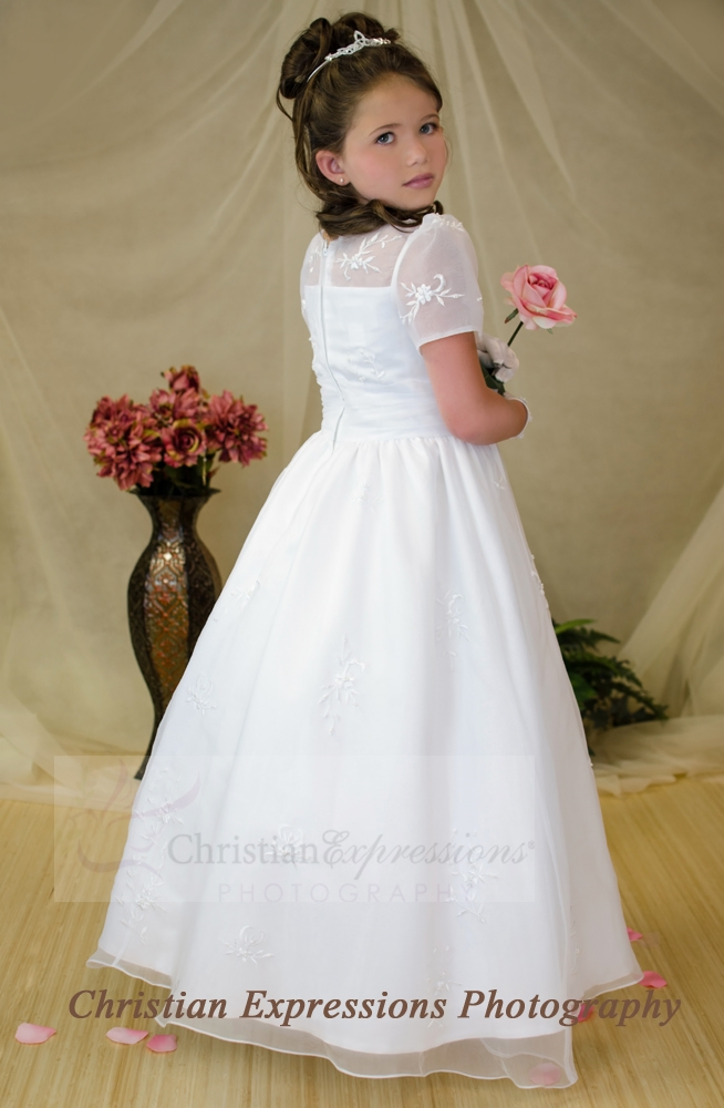 cf7f1364936 Embroidered Organza First Communion Gown