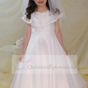 long length first communion dress with organza scarf