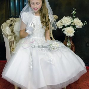 organza heavy beaded first communion dress