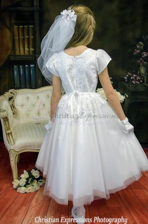 organza beaded first communion dresses with sleeves