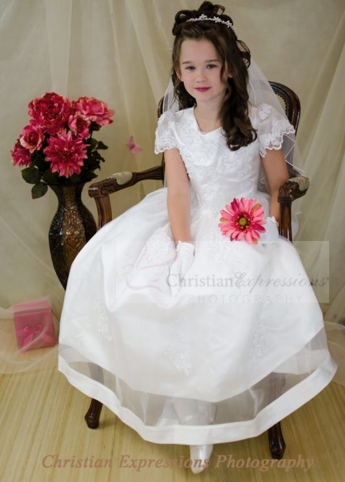 organza first communion dress with beading