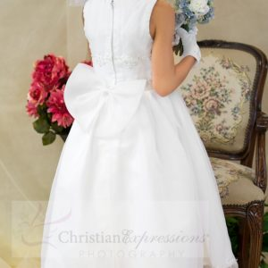 organza first communion dresses with embroidered bodice and hemline