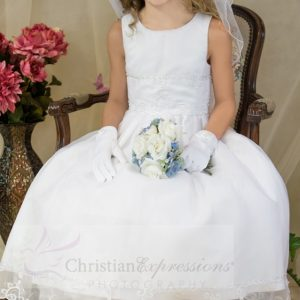 organza first communion dresses with embroidery
