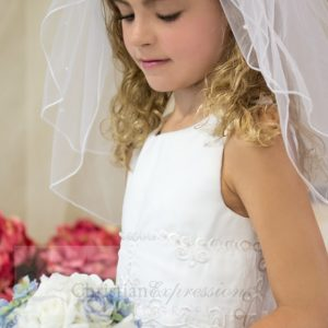 organza first communion dresses with embroidery and pearls