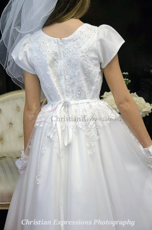 organza heavy beaded first communion dress with sleeves