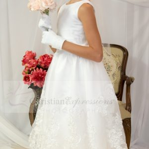 organza satin and lace tea length first communion dress