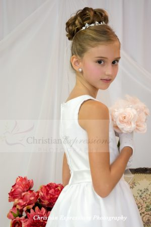 organza satin and lace tea length first communion dresses