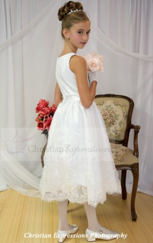 organza satin and lace tea length white first communion dresses