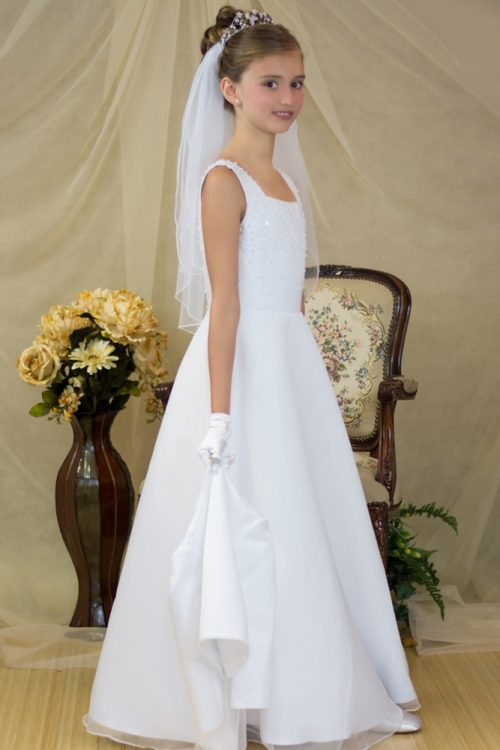 pearl a-line satin first communion dress